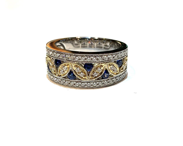 Diamond and sapphire leaf ring
