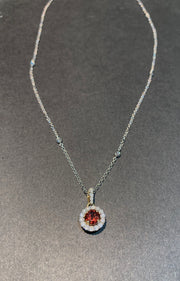Round Garnet and Diamond Halo Pendant Necklace