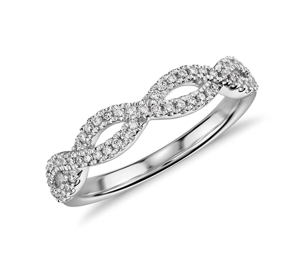 bands in gold pin micro eternity pave band diamond