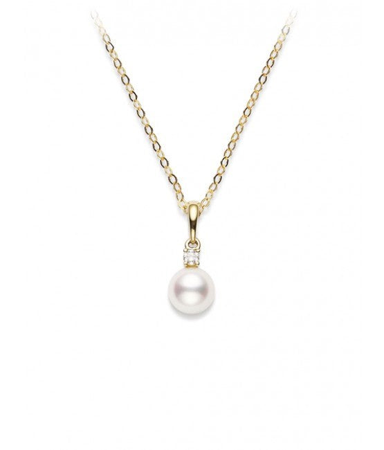Cultured Pearl and Diamond Solitaire Pendant Necklace