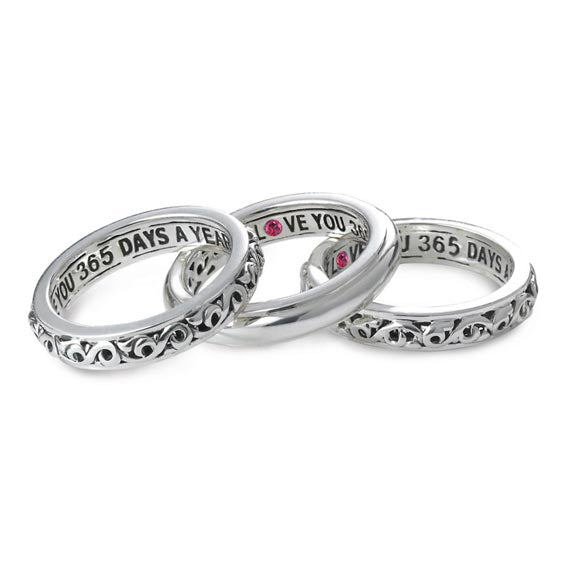 'I Love You 365 Days A Year' Stackable Band Rings
