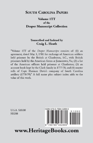 South Carolina Papers: Volume 1Tt of the Draper Manuscript Collection