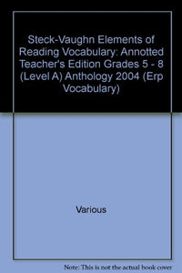 Elements of Reading: Vocabulary Read-Aloud Anthology, Level A, 2004 (Erp Vocabulary)
