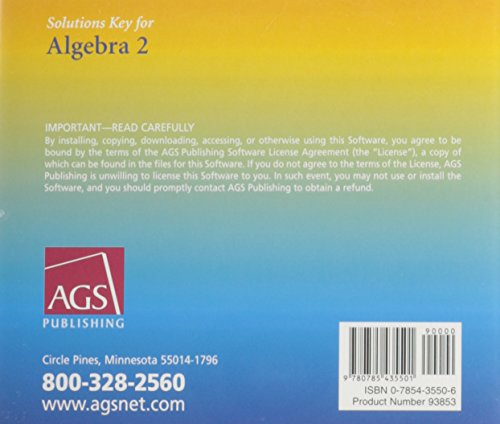 ALGEBRA 2 SOLUTIONS KEY ON CD-ROM (WINDOWS AND MACINTOSH)