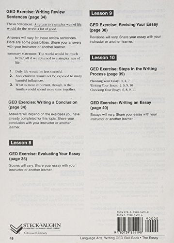 GED Skill Books: Workbook Language Arts, Writing: Essay