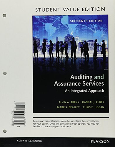Auditing and Assurance Services, Student Value Edition Plus MyAccountingLab with Pearson eText -- Access Card Package (16th Edition)
