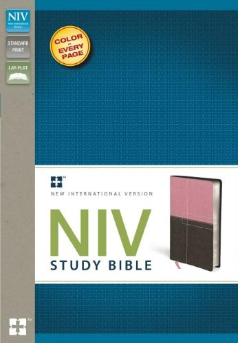 NIV Study Bible, Imitation Leather, Pink/Brown, Red Letter Edition