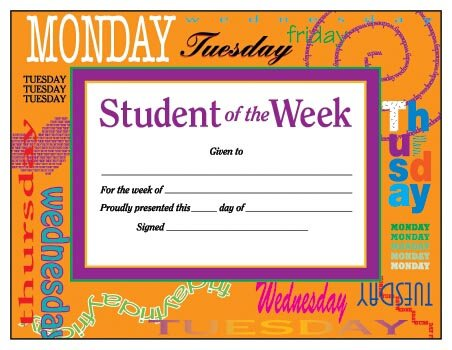Student of the Week Award Certificate (Award Certificates)