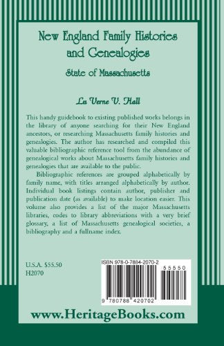 New England Family Histories And Genealogies: State of Massachusetts
