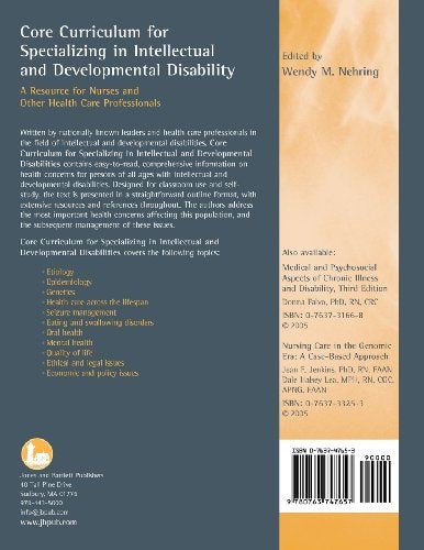 Core Curriculum For Specializing In Intellectual And Developmental Disability: A Resource For Nurses And Other Health Care Professionals