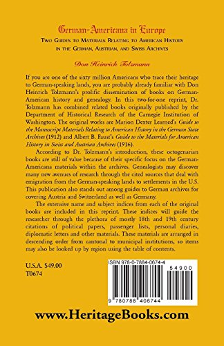 German-Americana in Europe: Two Guides to Materials Relating to American History in the German, Austrian, and Swiss Archives (Our Maryland Heritage)