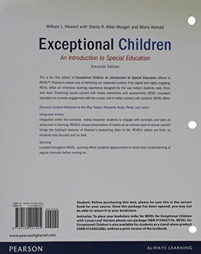 REVEL for Exceptional Children, Loose-Leaf Version with Video Analysis Tool -- Access Card Package (11th Edition)