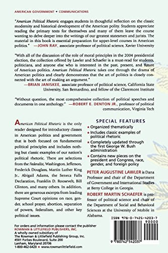 American Political Rhetoric: A Reader (American Political Rhetoric: Essential Speeches & Writings on)