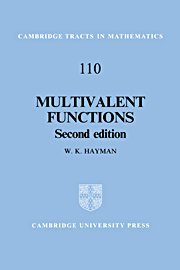 Multivalent Functions (Cambridge Tracts in Mathematics)