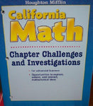 Houghton Mifflin Mathmatics California: Chapter Challenges And Investigations Level K