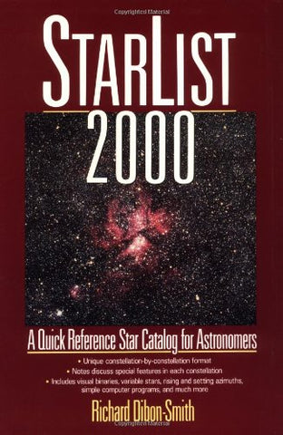 StarList 2000: A Quick Reference Star Catalog for Astronomers