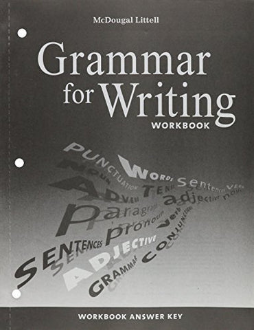 McDougal Littell Literature: Grammar for Writing Workbook Answer Key American Literature
