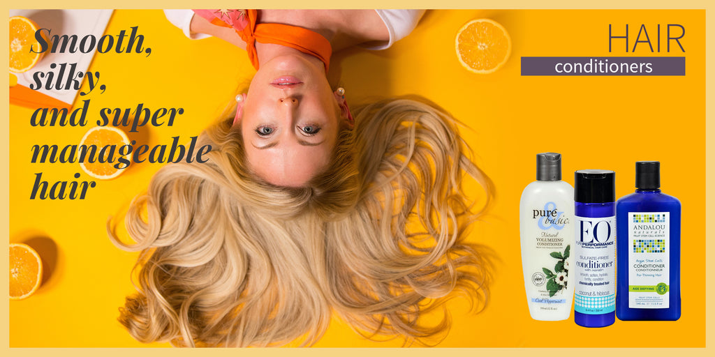 Upside down lady with her hair spreading under the BHA Hair Conditioners collection.