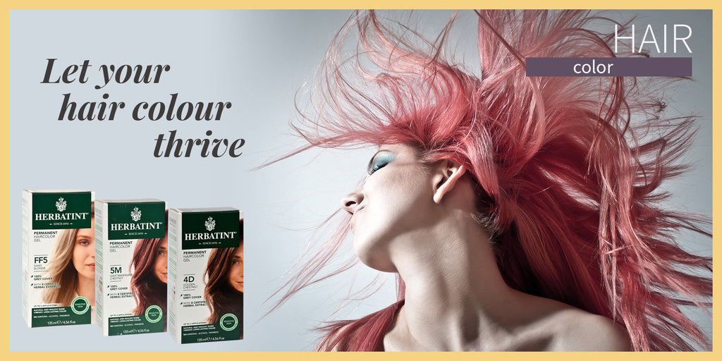 Lady swinging her color hair with Herbal Haircolor products