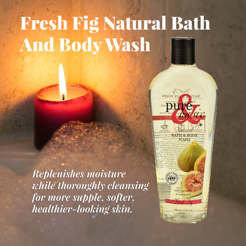 Fresh Fig Natural Bath and Body Wash is display next to the candle