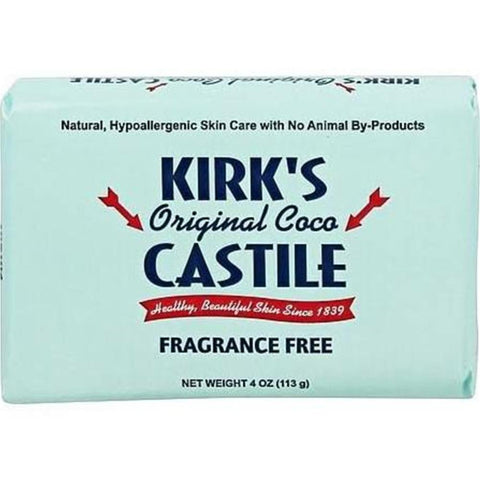 Kirk's Natural - Original Coco Castile Soap - Fragrance Free ( 6 - 4 OZ)-BHA