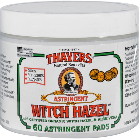 Thayers - Witch Hazel With Aloe Vera ( 2 - 60 PADS)-BHA