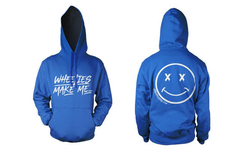 HOODIE - WHEELIES MAKE ME SMILE (WHITE PRINT)