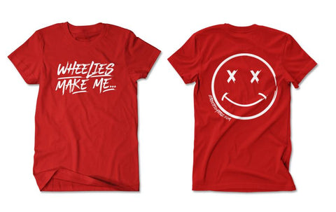 T-SHIRT - WHEELIES MAKE ME SMILE (WHITE PRINT)