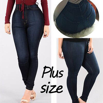 Womens High Waist Jeggings Jeans Stretchy Plus Pants Trousers Skinny Blue Plus Size Jeans L-5XL