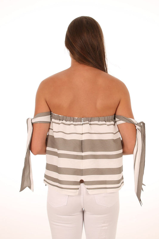 Twin Tie Top Grey White