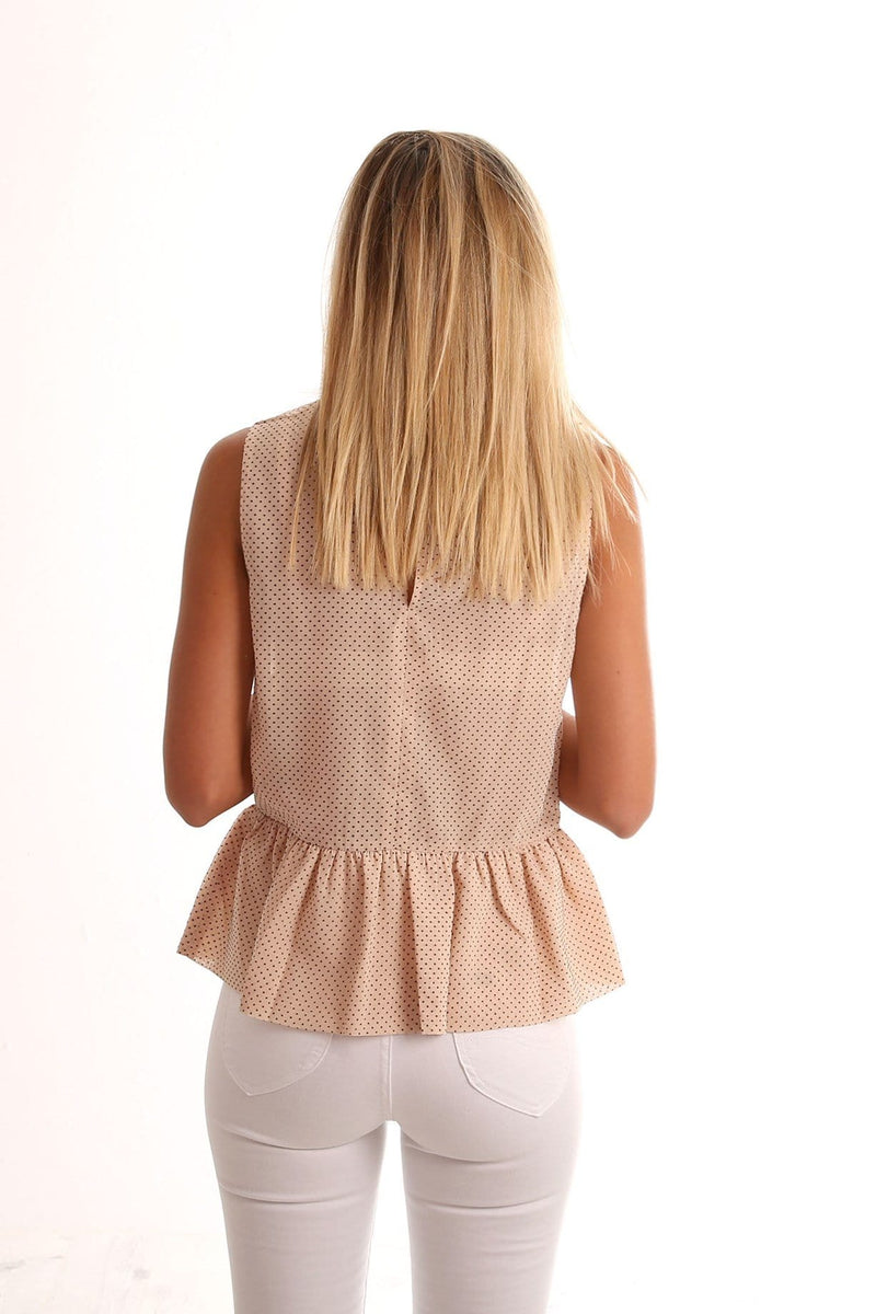 Norah Flocked Spot Top Peach Imonni - Jean Jail