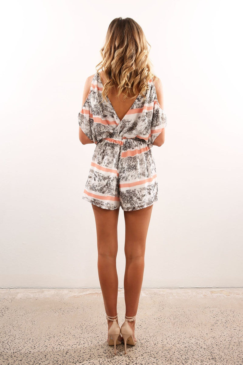 Mateo Cut Away Playsuit Print Finders Keepers - Jean Jail