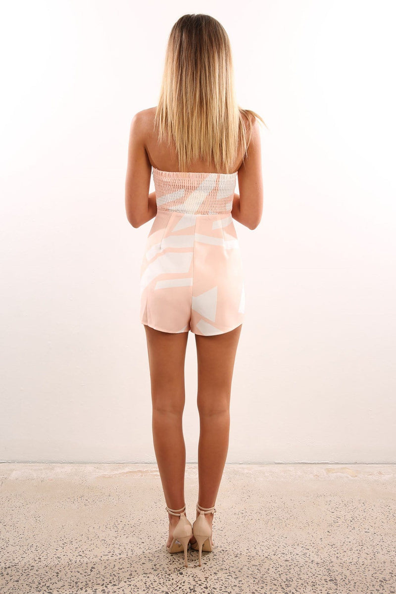 Into Trouble Playsuit Peach Jean Jail - Jean Jail