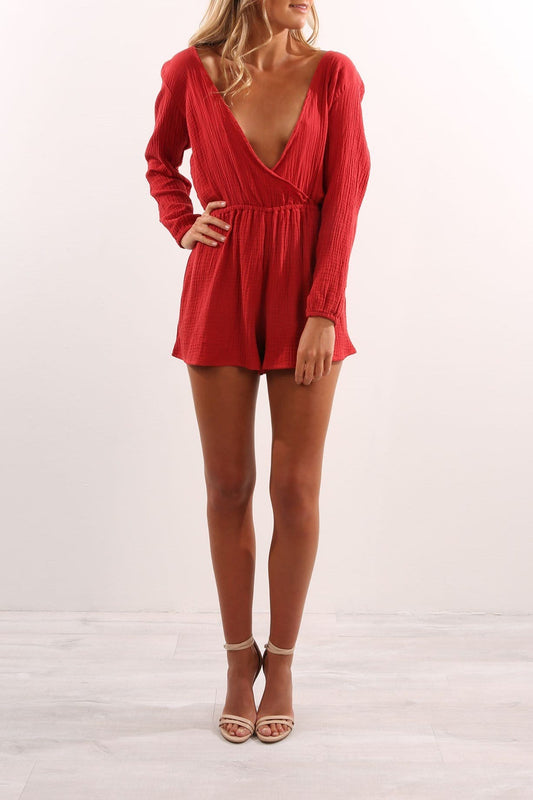 Sweet Disposition Playsuit Burnt Red