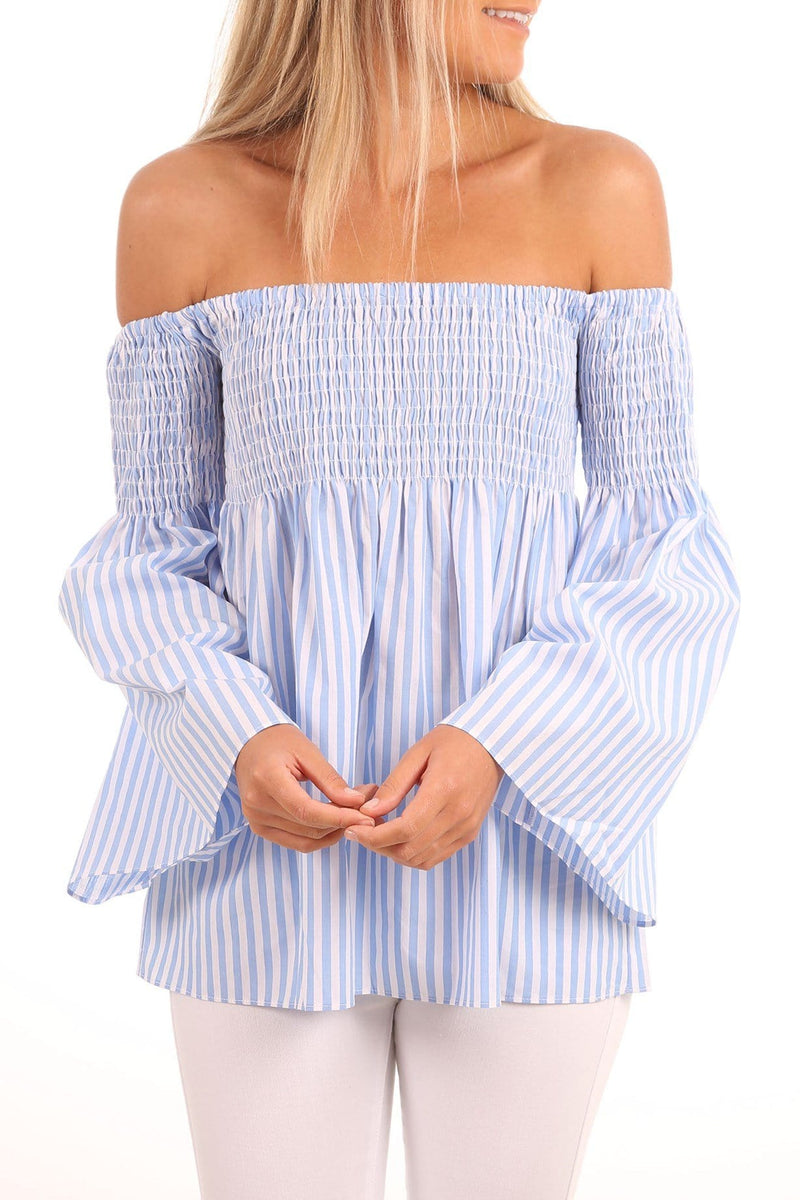 Sofia Cotton Stripe Top Cornflower Ivory