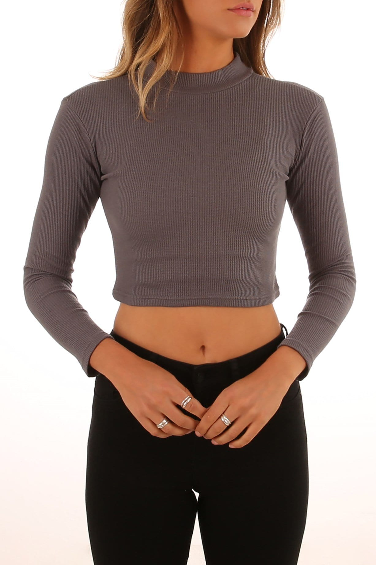 Mylsy Long Sleeve Top Charcoal