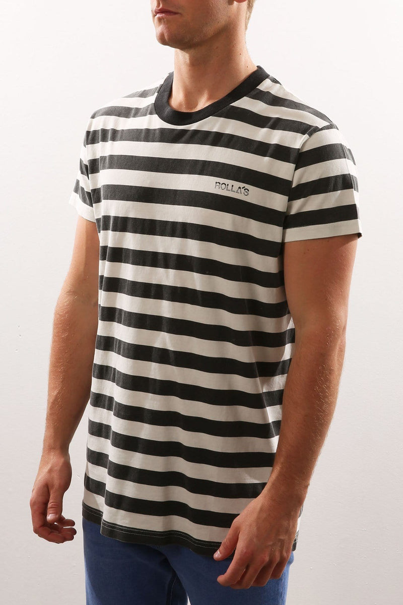Stripe Logo Tee Black White Rollas - Jean Jail