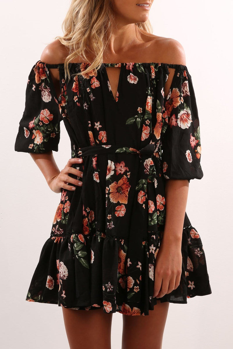 Walk The Moon Dress Black Floral Jean Jail - Jean Jail