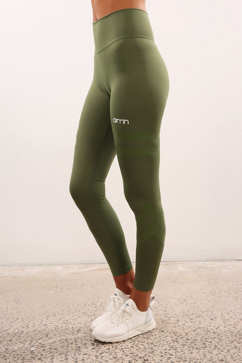 Tribe High Waist Sports Tights Green Aimn - Jean Jail