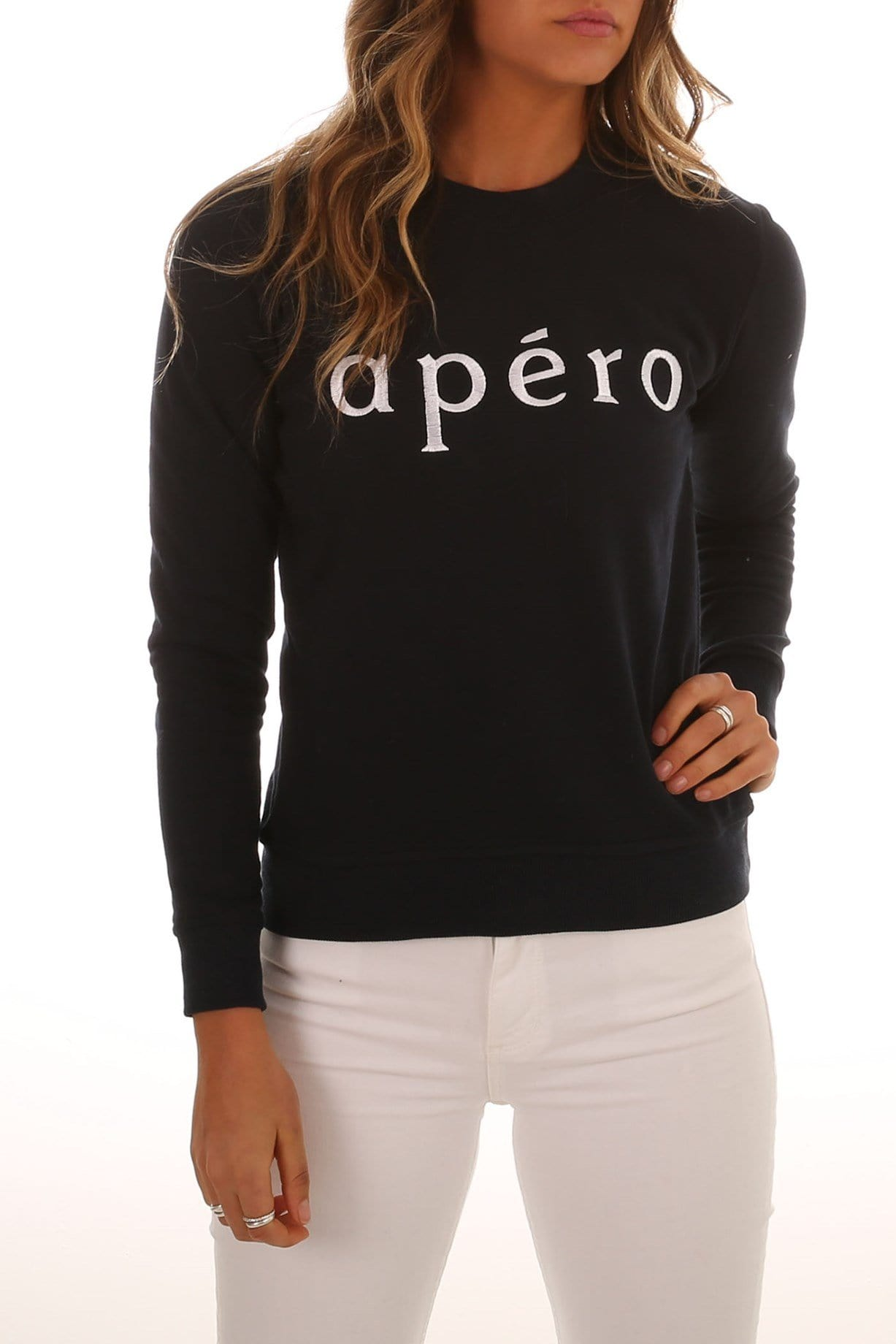 Apero Embroidered Jumper Navy