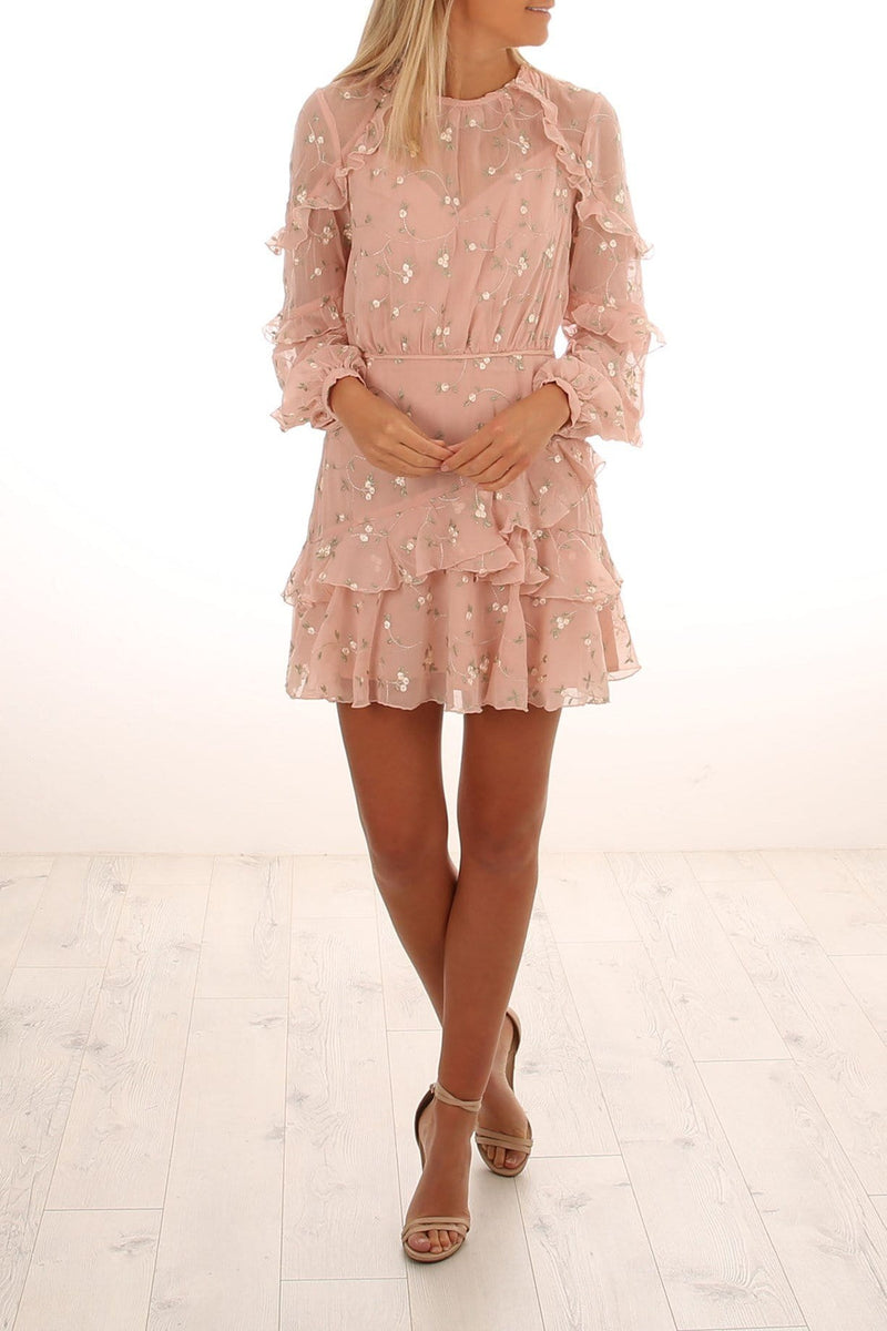 Bound To You Mini Dress Nude Embroidery