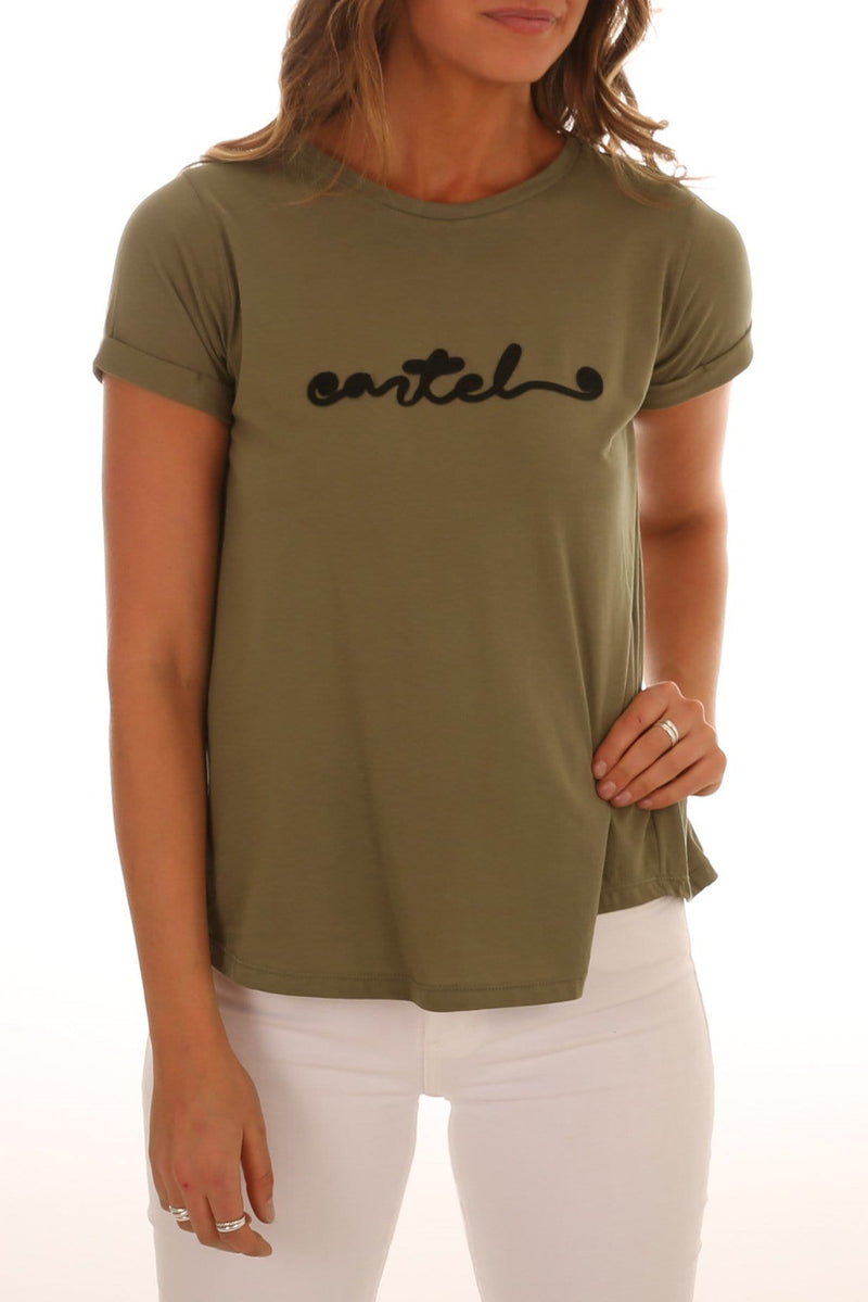 Cartel Cursive Tee Khaki Cartel & Willow - Jean Jail