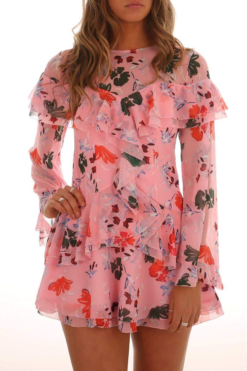 Elude Long Sleeve Mini Dress Pink Floral C/MEO COLLECTIVE - Jean Jail