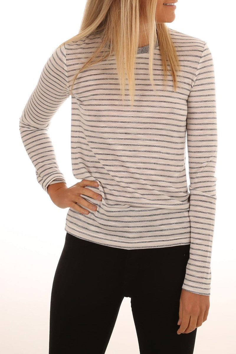 Guest Stripe Long Sleeve Top White Charcoal The Fifth Label - Jean Jail