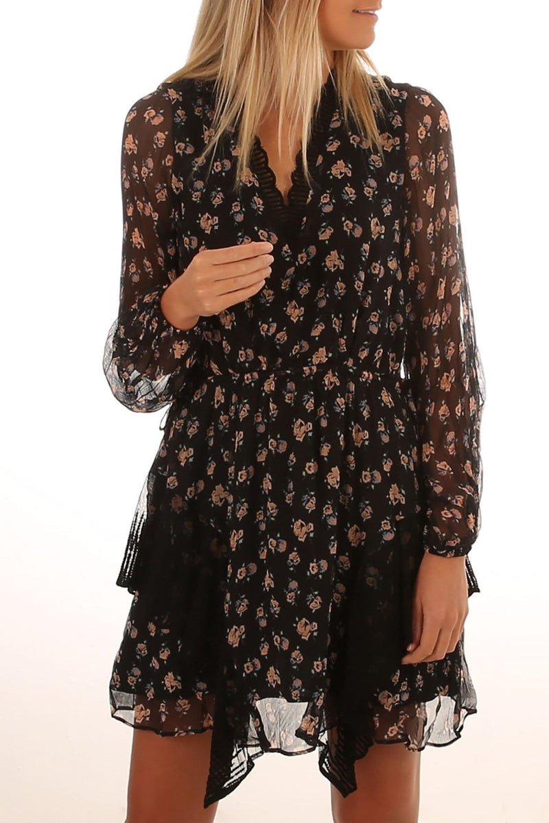 Harmony Long Sleeve Mini Dress Dark Ditzy Rose Floral Stevie May - Jean Jail