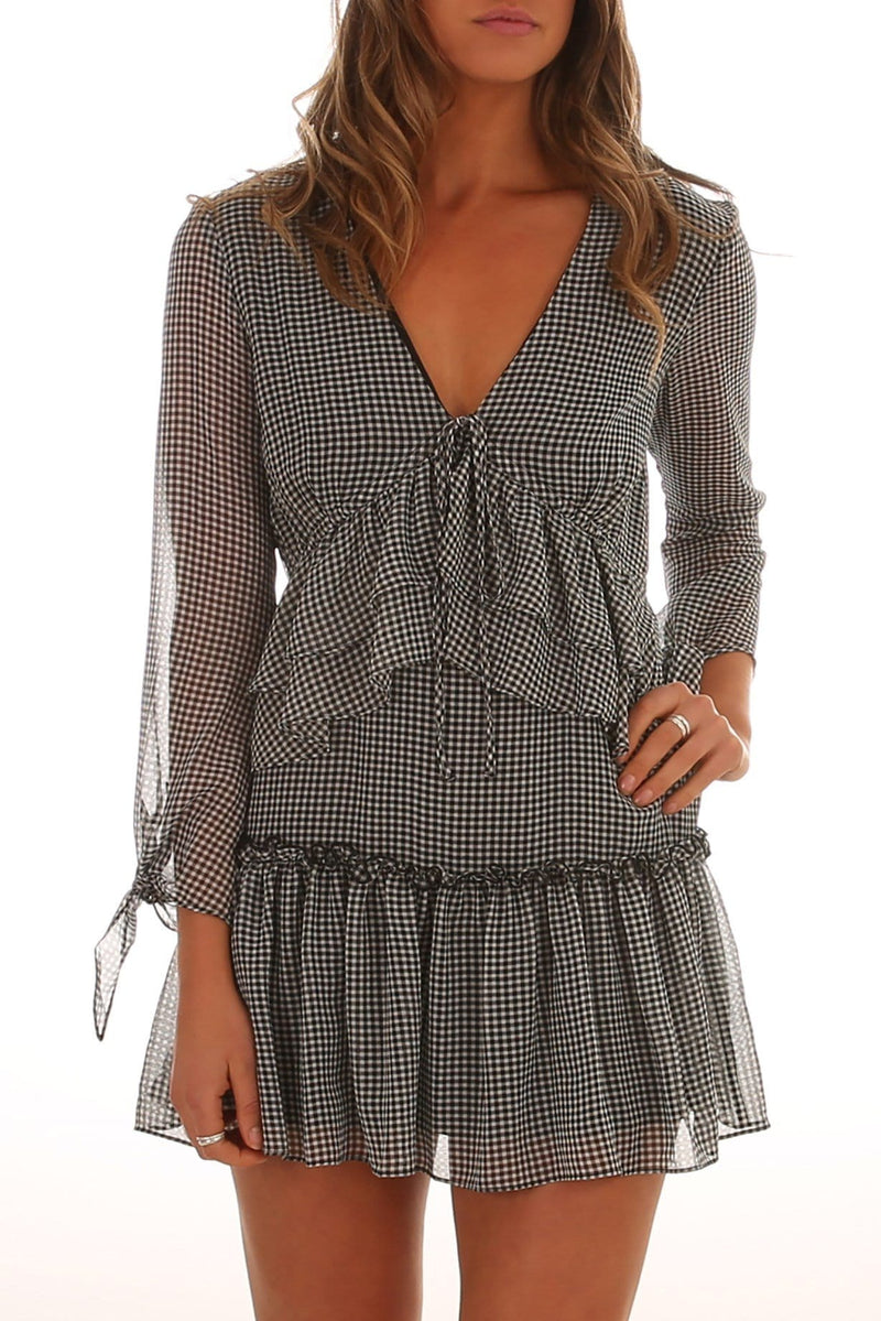Horizons Long Sleeve Dress Black Gingham Finders Keepers - Jean Jail