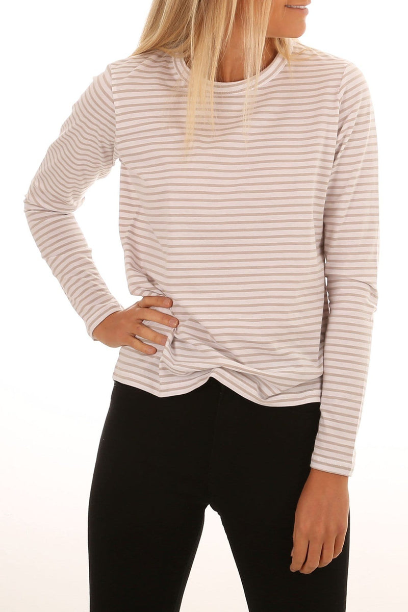 Lyle Long Sleeve Tee Grey Stripe Nude Lucy - Jean Jail