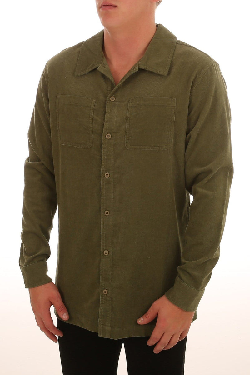 Military Cord Long Sleeve Shirt Olive Rhythm - Jean Jail