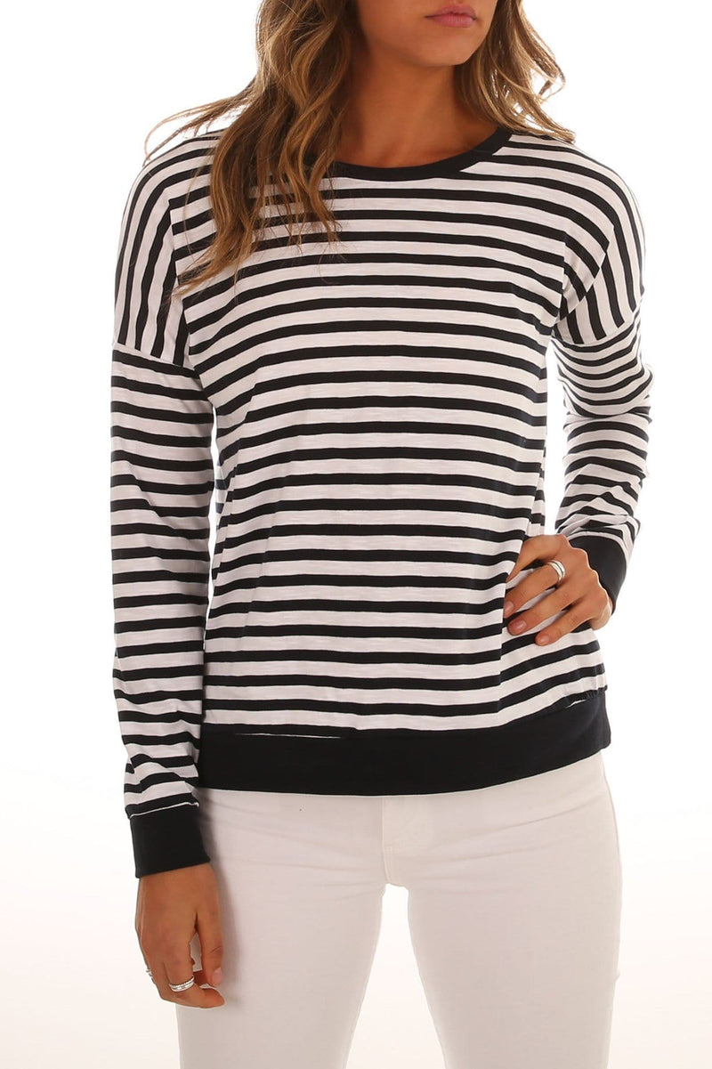 On Track Long Sleeve Tee White Navy Stripe Silent Theory - Jean Jail
