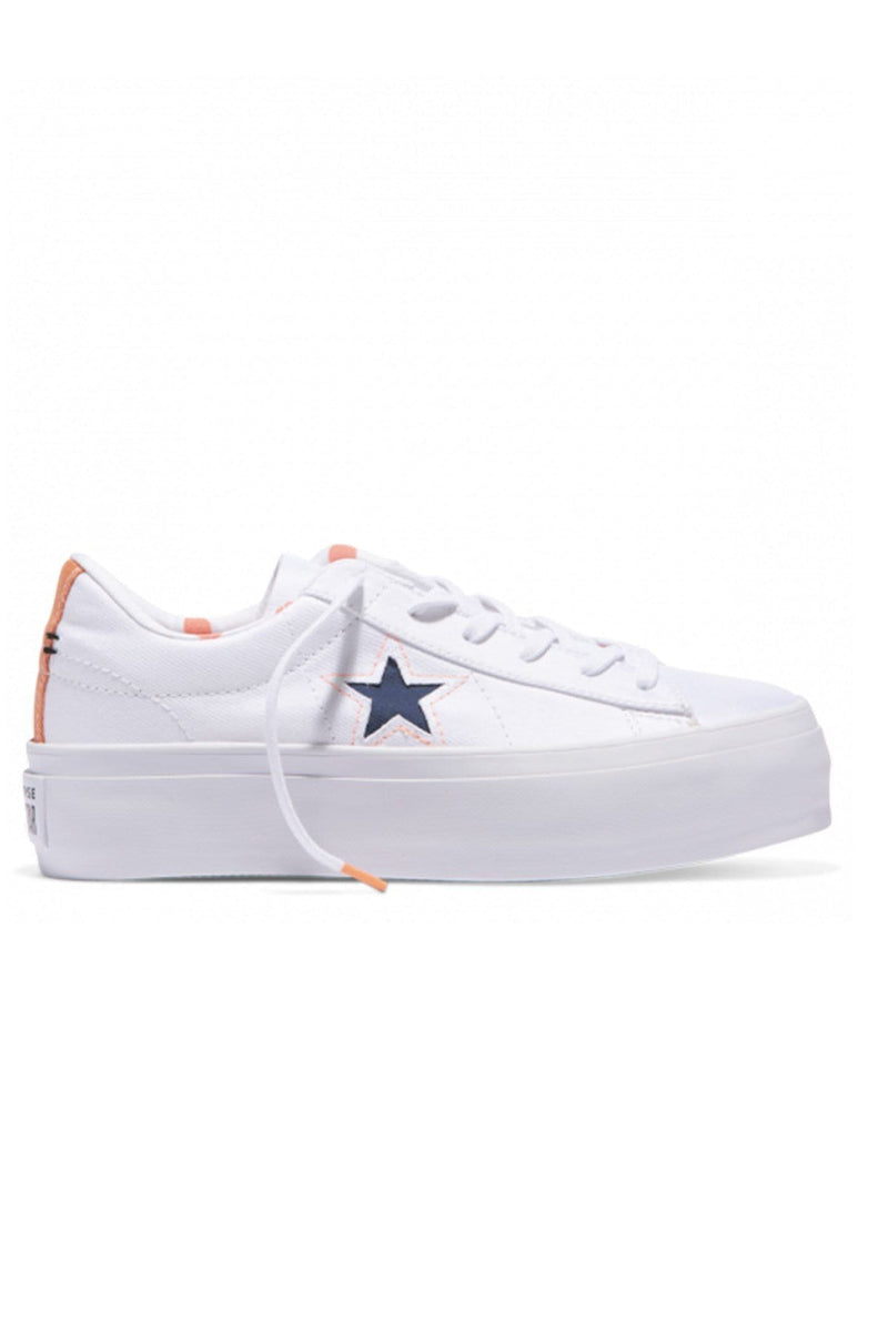 One Star Platform Whites & Brights Low Top Crimson Pulse Converse - Jean Jail